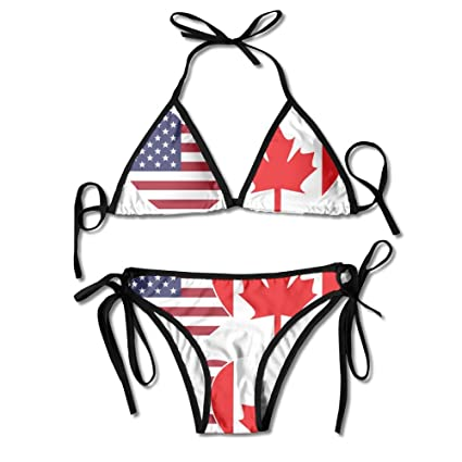 746437cad1d9a Amazon.com: Women's Bathing Suit Adjustable CANADA USA Flag Twin Heart Sexy  Bikini Set 2 Piece: Sports & Outdoors