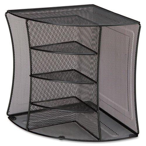 "Wholesale CASE of 10 - Lorell Mesh Corner Desktop Organizer-Corner Organizer, 10-7/8""x10-7/8""x13"", Mesh/Black"