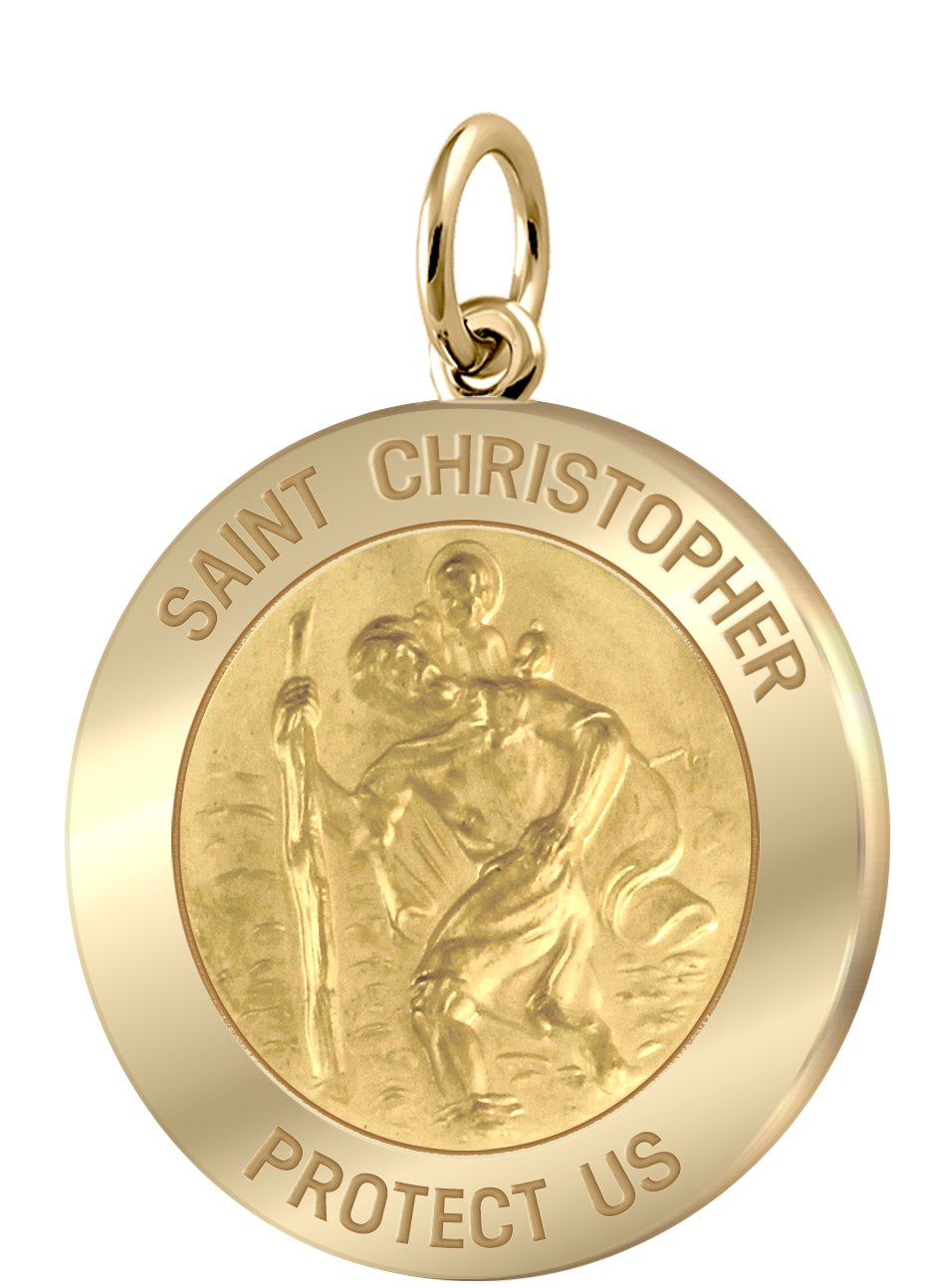 Men's 14k Yellow Gold St Christopher Round Polished 1'' Solid Pendant