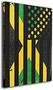 "Hobson Reginald Canvas Wall Art Prints Jamaican American Flag Jamaica USA -Picture Paintings Modern Decorative Giclee Artwork Wall Decor-Wood Frame Gallery Wrapped 16""x20"""