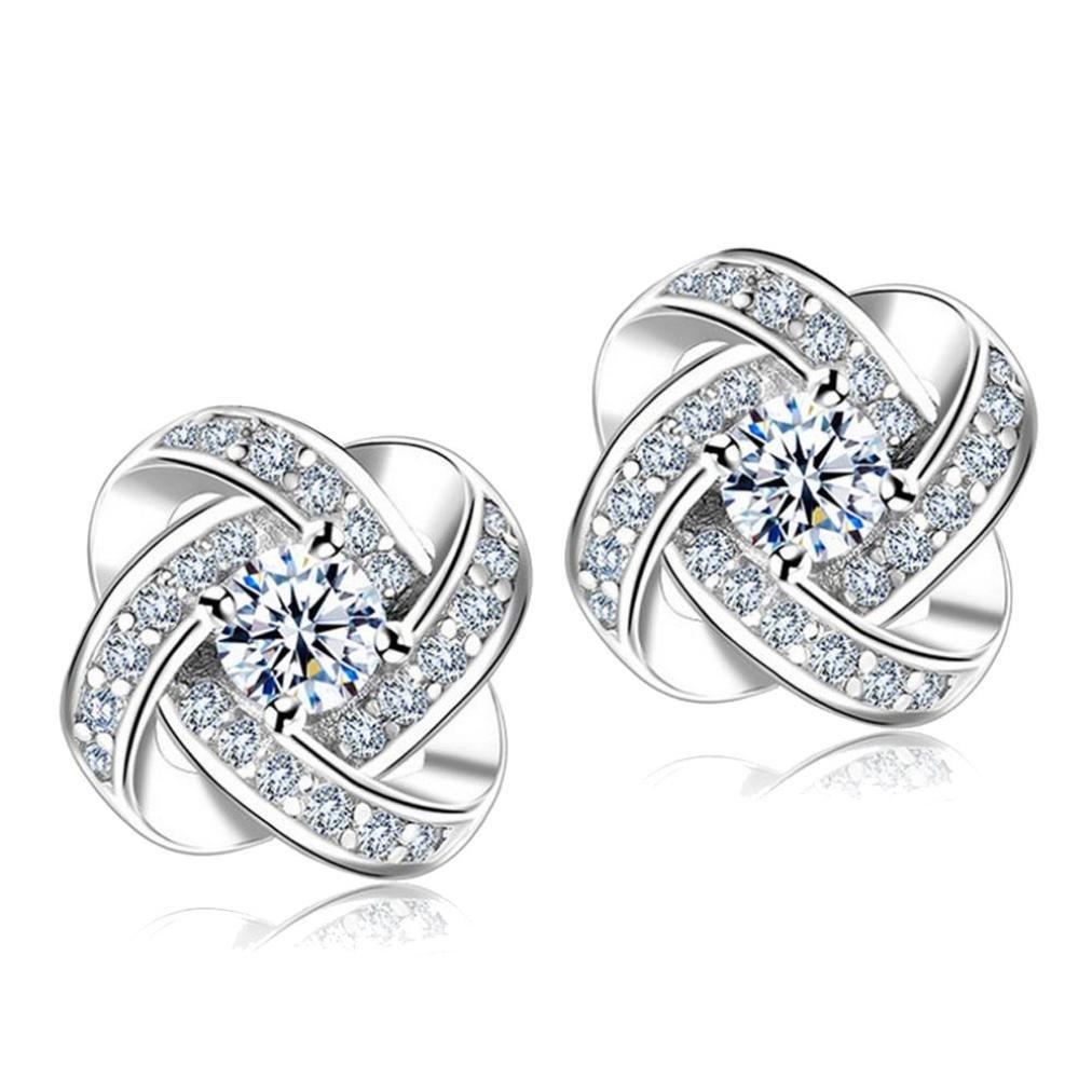 Hot Sale! WaiiMak Women Girl Eternal Star Earrings Models Simple Fashion Diamond Stud Jewelry (Sliver)