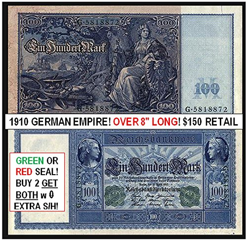 1910 DE GIGANTIC GERMAN EMPIRE BANKNOTE w MILITARY THEME (NAVAL FLEET, GERMANIA w SWORD, EMPEROR IN UNIFORM)! JUST BEAUTIFUL! 2 COLORS AVAILABLE 100 Marks Very Fine Range (Each Note Varies Slightly)
