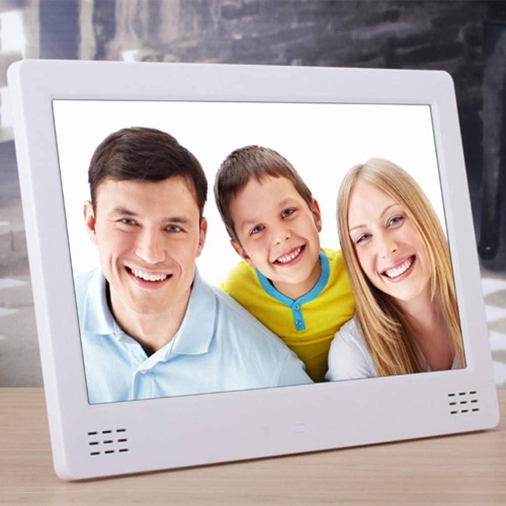 12.5 Inch Digital Photo Frame HD LED Picture Frame with IPS Display Electronic Picture Remote Control,White Video//Music//Calendar//Clock//E-Book Player USB and SD Card Slots