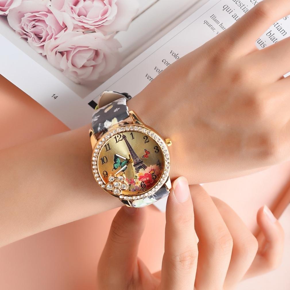 Amazon.com: Wrist Watches for Women Teen Girls, Iuhan Fashion Eiffel Tower Leather Quartz Watch Women Casual Crystal Wristwatch Charm Layer Quartz Bracelet ...