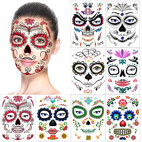 Halloween Temporary Face Tattoos (8Pack), Konsait Day of the Dead Sugar Skull Floral Black Skeleton Web Red Roses Full Face Mask Tattoo for Women Men Adult Kids Boys Halloween Party Favor Supplies -
