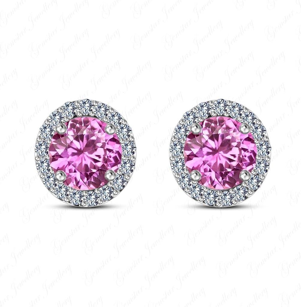 Disney Mickey Earrings 14K White Gold Plated Round Pink CZ Screwback Earrings Jewellery