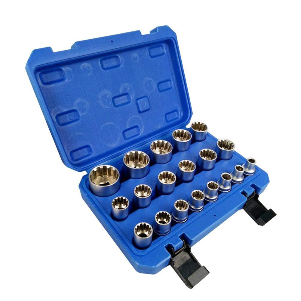 Vanpower Chromium Vanadium Steel Gear Lock Sleeve Bit E Socket Repair Set (19pcs)