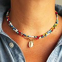 Jovono Gargantilla con colgante de concha bohemia con cuentas de colores para mujeres y niñas