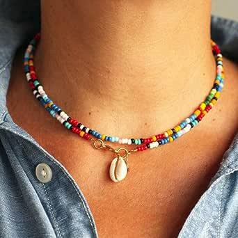 Jovono Gargantilla con colgante de concha bohemia con cadena de cuentas de colores para mujeres y niñas