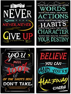 Kreative Arts Motivational Quote Workout Gym Posters Motivational Quotes Prints Wall Art Framed Artwork Classroom and Office Walls Decor Canvas Set of 4 Ready to Hang 12x16inchx4pcs