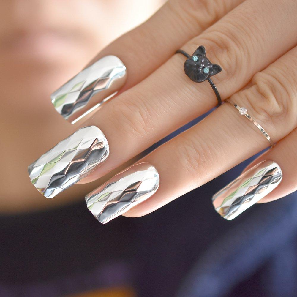 Amazon.com : Aaviland Metallic Silver False Nails Metal 3D Rhombus Pattern Long Square Fake Nails Cool Style Art French Tips Z875 : Beauty