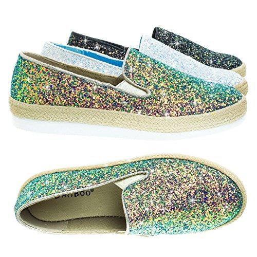 Glitter Slip Op Sneaker W Espadrille Plateau Blauw