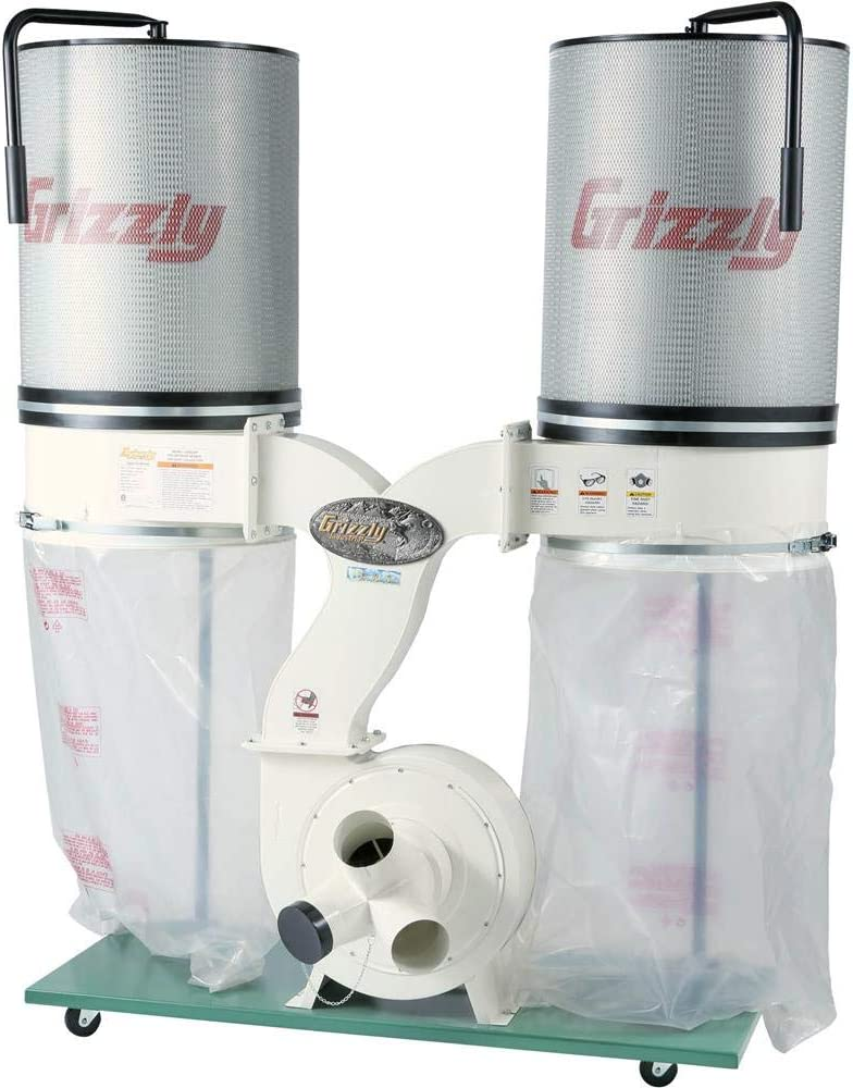Grizzly Industrial G0562ZP - 3 HP Double Canister Dust Collector with Aluminum Impeller - Polar Bear Series