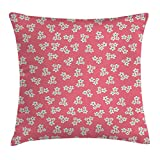 Queen Area Country Home Cute Little Daisies Bouquets Girls Bedroom Decor Freshness Pink Backdrop Square Throw Pillow Covers Cushion Case for Sofa Bedroom Car 18x18 Inch, Teal Pink White