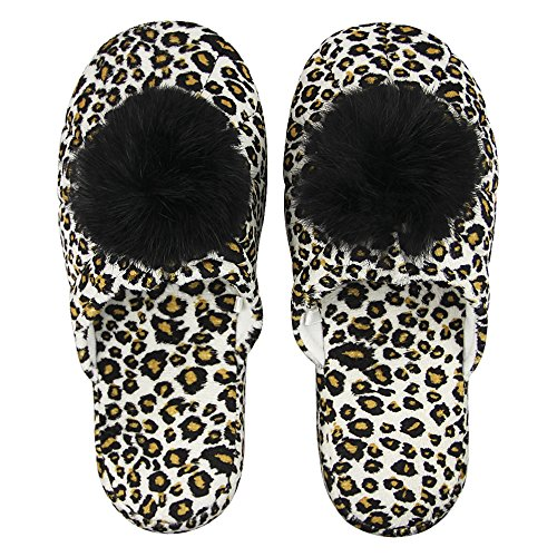 Womens Pom-poms Faux Fur Indoor Slippers Winter Warm Soft Plush Cotton House Bedroom Spa Slippers Anti-skid Rubble Sole Comfort Slip-on Shoes Lightweight Scuff Footwear Mules Clog Leopard lR0kD0zVH6