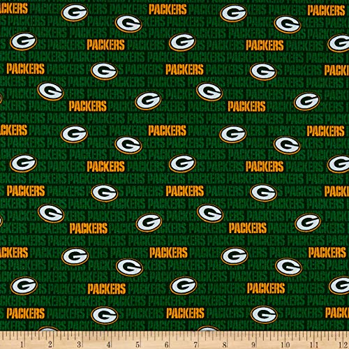Green Green Bay Packers Fabric - Traditions NFL Cotton Broadcloth Bay Packers Mini Green, Fabric by the Yard