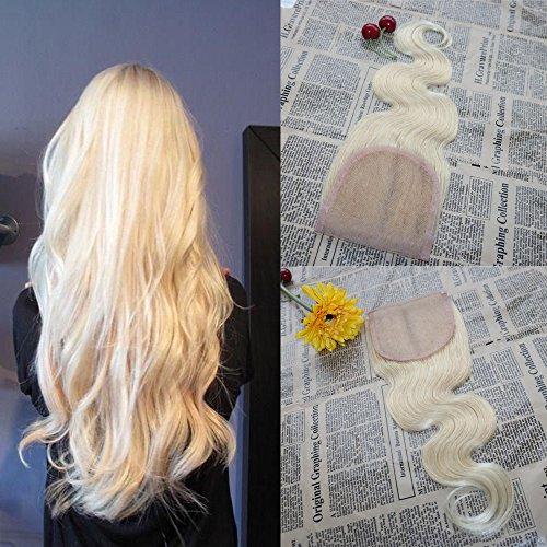 Price comparison product image 14'' Body Wave Virgin Brazilian Hair 130% Density Lace Closure #613 Blonde Free Part Lace Closure Bleached Knots 100$ Unprocessed Human Hair 4x4'' Full Lace Closure