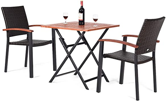 7PCS Outdoor Dining Set Poly Rattan Garden Furniture Table and Chair Patio Black