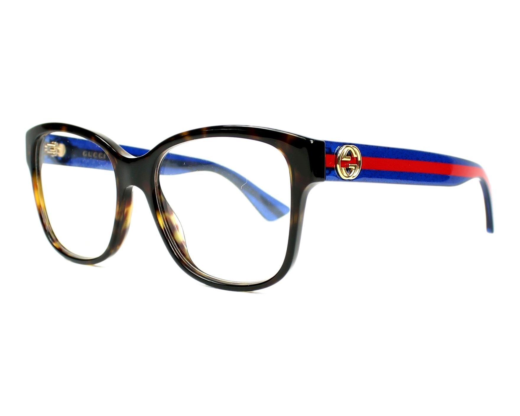 Gucci frame (GG-0038-O 003) Optyl Dark Havana - Glitter Blue