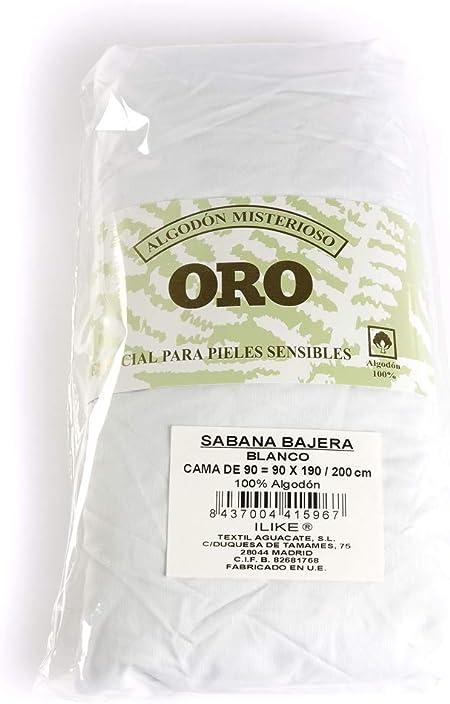 I LIKE Sabana Bajera Ajustable 100% ALGODÓN Serie Oro Color Blanco Cama DE 90=90x190/200: Amazon.es: Hogar