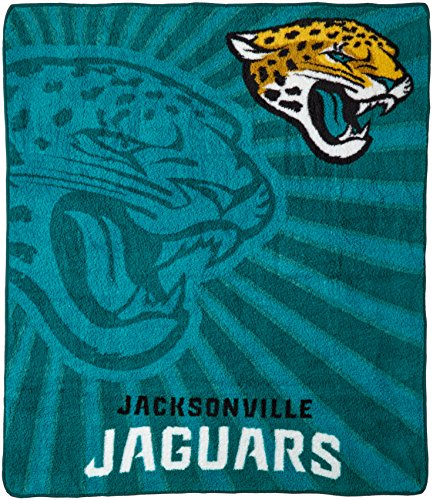 Officially Licensed NFL Jacksonville Jaguars Strobe Sherpa on Sherpa Throw Blanket, 50' x 60'
