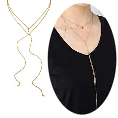 Amazon bar long necklace lariat open circle y pendants simple bar long necklace lariat open circle y pendants simple minimalist choker collarbone chain charms jewelry 2 aloadofball Images