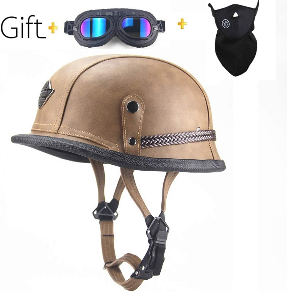 Cruiser,ATV,Scooter,Brown,M CARACHOME Retro Summer Motorcycle Helmet,Motorbike Leather Half Helmet with Goggles And Mask Suitable for Men And Women .Old Style Protection Shell Helmet for Bike