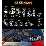 TOTOMO 13 Stick Figure Family & Pet Dog Cat Stickers (Style#2) for Car Windows White decal Sticker