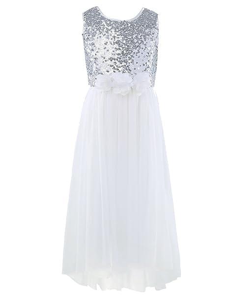 94f5c465a iEFiEL Vestido Largo de Princesa Bautizo Fiesta Boda Vestido Brillante para  Niña Infantil (3-