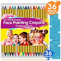 Face Paint Crayons for Kids, 36 Makeup Sticks & 36 Stencils, Professtional Face Painting kit for Halloween or Birthday Party, 6 Fluorescent, 6 Metallic & 24 Classic Colors, Safe for Sensitive Skin