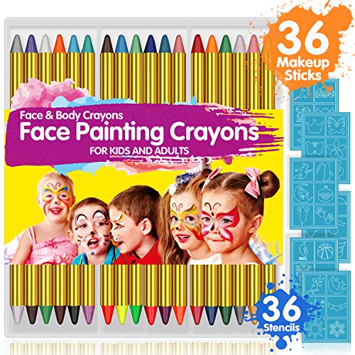 Halloween Faces For Kids (Face Paint Crayons for Kids, 36 Makeup Sticks & 36 Stencils, Professtional Face Painting kit for Halloween or Birthday Party, 6 Fluorescent, 6 Metallic & 24 Classic Colors, Safe for)