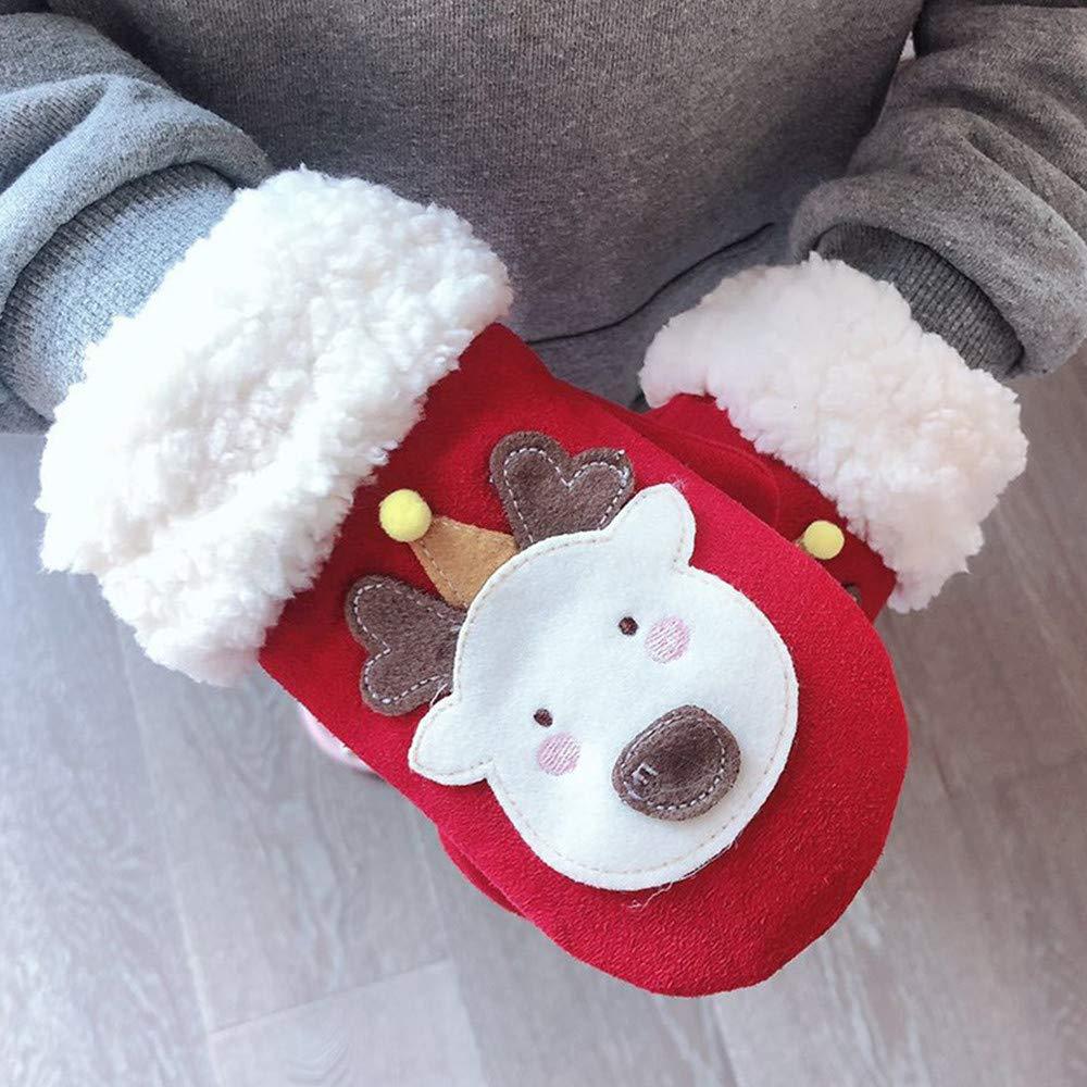 Kids Gloves Girls Boys Winter Warm Gloves Cute Cartoon Animal Thicken Mittens Hanging Neck Full Finger Gloves Toddler Unisex Cashmere Wrist Gloves Ski Gloves Birthday Xmas Gifts for Children 2-5 Years