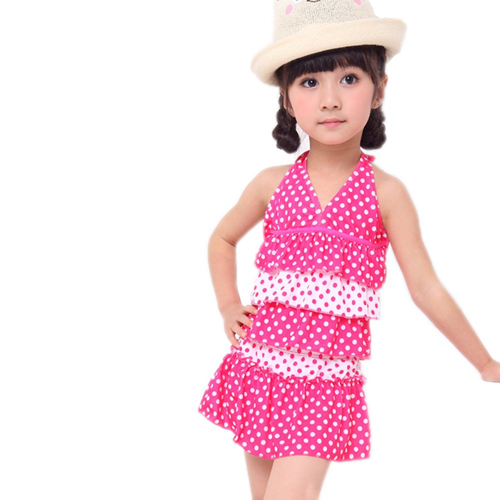 BIKMAN Two Piece Swimsuit Big Girls Halter Swimwear Polka Dot Swim Dress