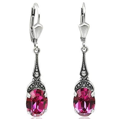 Modeschmuck ohrringe swarovski  Jugendstil Ohrringe mit Kristallen von Swarovski® Damen - Silber ...