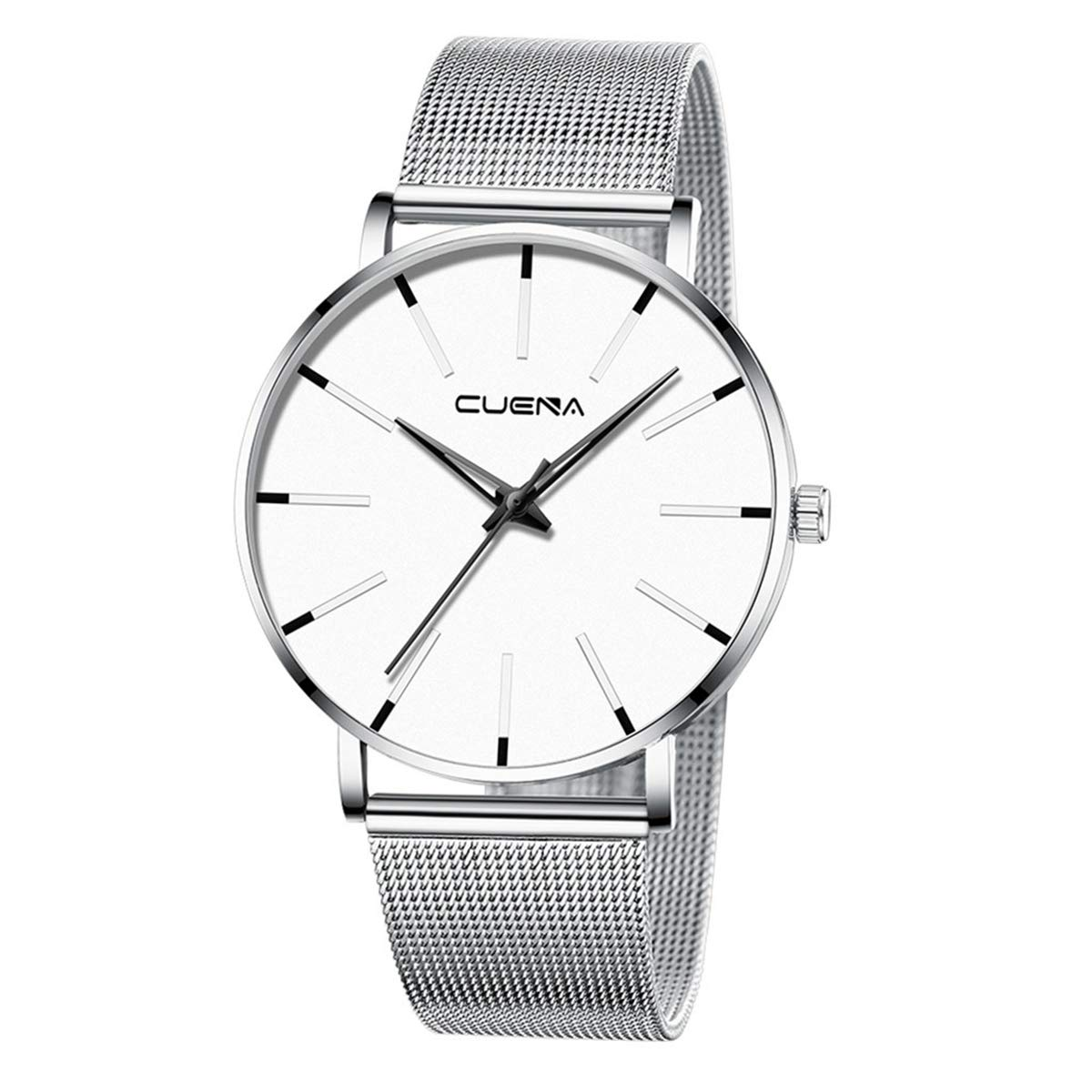ZODRQ Men's Watch,Fashion Watches Stainless Steel Mesh Wrist Watch Casual Wristwatch Quartz Watch for Men Gift (F) by ZODRQ