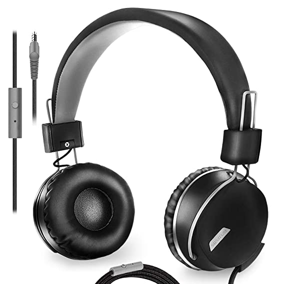 On-Ear Music Headphones with Microphone for Adults, Teens, Kids, Lightweight Foldable Comfortable Adjustable Swival cups for Computer, Tablet Ipad or smartphone | Tangle free 1.5m cord with 3.5mm jack