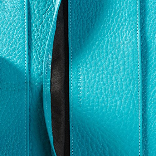 Leatherology Left Handed Executive Zippered Portfolio - Full Grain Leather Leather - Teal (Blue) by Leatherology (Image #5)