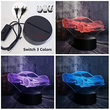 Novedad Cool Modern Ferrari Car 3D LED Nightlight 7 Cambio ...