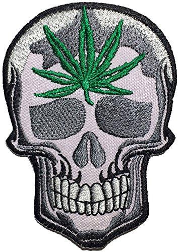 Skull Weed Marijuana Pot Leaf Hemp Dope Grass Ganja Bud Logo Ghost Skeleton Outlaw Biker Punk Ride Hippie Rock Heavy Metal Motorcycle Jacket Sew Iron on Embroidered Badge Sign Costume Patch