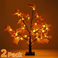 [2-Pack] Thanksgiving Decorations Table Lights, Thanksgiving Maple Leaves and Pumkin Autumn Tree Decoration 24€ 24 LED, Thanksgiving Gift, Battery Powered