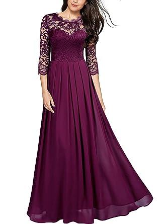 e7cad3f08db7e4 Miusol Damen Elegant Halbarm Rundhals Vintage Spitzenkleid Hochzeit Chiffon  Faltenrock Langes Kleid Magenta Gr.S
