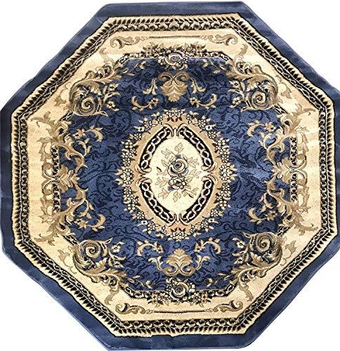- Deir Debwan Traditional Octagon Aubusson Floral Area Rug Persian Blue Burgundy Beige Ivory Design 602 (5 Feet 3 Inch X 5 Feet 3 Inch)