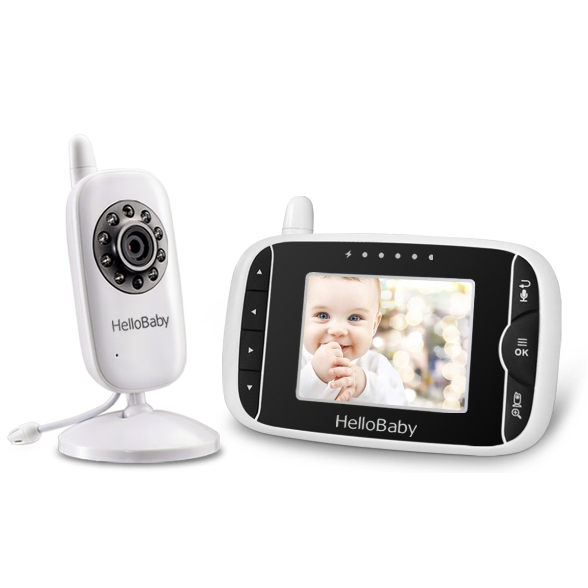 HelloBaby Video Baby Monitor 3.2'' LCD Display Screen with Camera,  Infrared Night Vision, Two Way Talk, VOX Mode, Built-in Lullabies, Long Range and Temperature Monitoring  Infrared Night Vision
