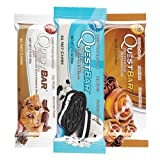 Quest Nutrition Protein Bar Chocolate Cookie Variety Pack: Chocolate Chip Cookie Dough, Smores, and Cookies & Cream - Pack of 12 (4 of Each)