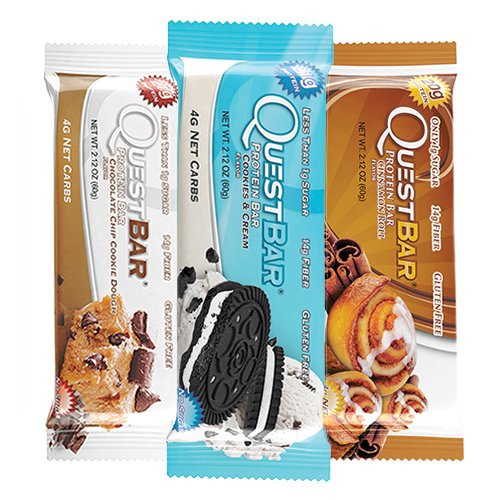 Quest Nutrition Protein Bar Chocolate Cookie Variety Pack: Chocolate Chip Cookie Dough, S'mores, and Cookies & Cream - Pack of 12 (4 of Each)
