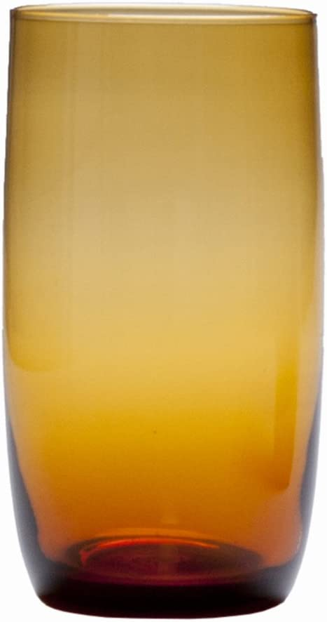 D&V Glass Gala Collection Iced Beverage/Cocktail Glass 19 Ounce, Amber, Set of 12