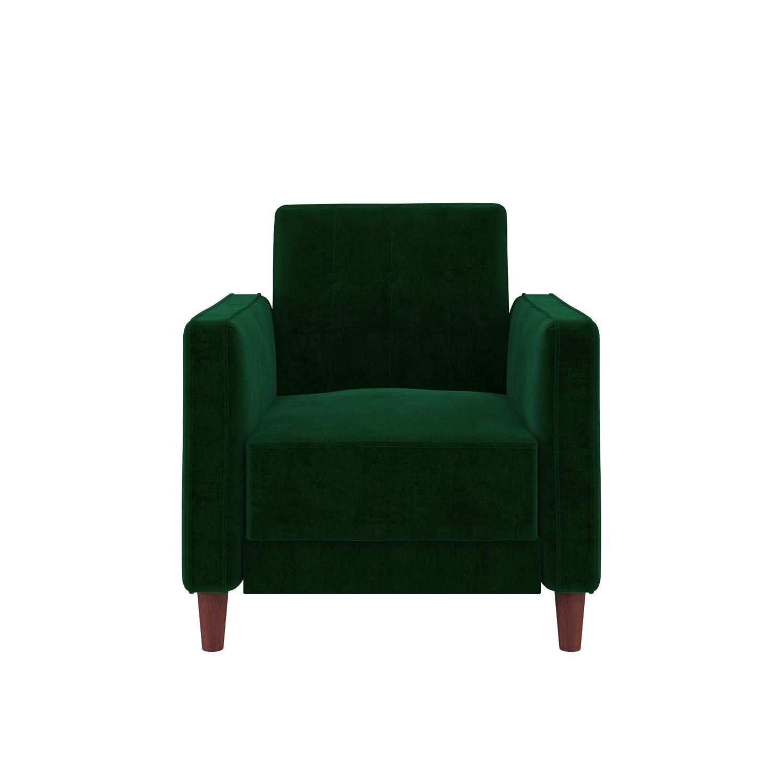 DHP DZ13388 Ivana Accent Chair, Green Velvet, Green Velvet
