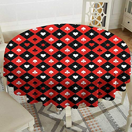 Striped Round Tablecloth 50 Inch Poker Tournament Decorations,Card Suit Chess Board Classic Checkered Pattern Symbols,Red Black White Great for,Party & - Suit Poker Striped