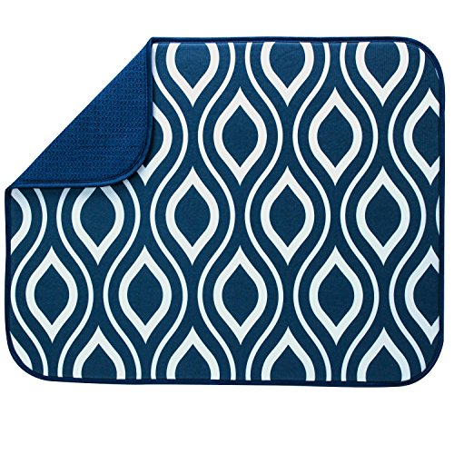 "S&T XL Microfiber Dish Drying Mat, 18"" x 24"", Navy Double Tr"