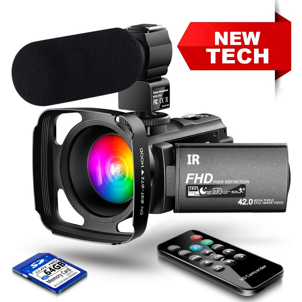 【New Upgrade】 Ultra HD Video Camera Camcorder 1080P 42M Vlogging Camera YouTube Digital Recorder Camera IR Night Vision IPS Touch Screen with Microphone Remote Control, Lens Hood, Battery Charger by LVQUONE